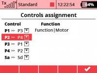 How can I change the mode (1-4) and assignment of controls in an existing model file