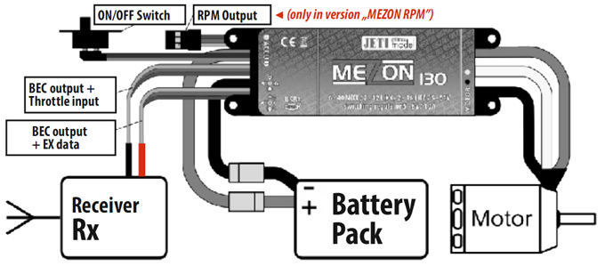 Connection of the MEZON controller equipped with BEC